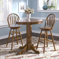 Nostalgia Casual Dining 3 Piece Round Pub Table Set with Arrow Back Barstools in Medium Oak