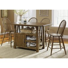 <strong>Liberty Furniture</strong> Farmhouse Casual 5 Piece Dining Centre Island Pub Table Set in Weathered Oak
