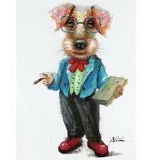 Revealed Artwork Professor Dog by Alicia Bogenschutz Original Painting on Canvas