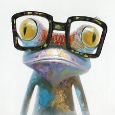 Revealed Artwork Hipster Froggy I by Alicia Bogenschutz Original Painting on Wrapped Canvas