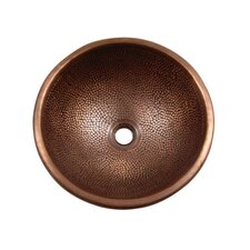 Pin Hammered Topmount Round Vessel Bathroom Sink