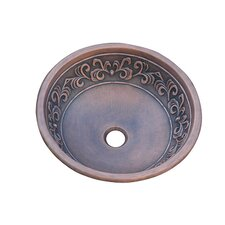 Leaf Design Topmount Round Vessel Bathroom Sink