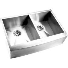 "32.88"" x 20.5"" Double Square Bowl Curved Farmhouse Kitchen Sink"