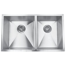 "32"" x 19"" Undermount Double Square Bowl Kitchen Sink"