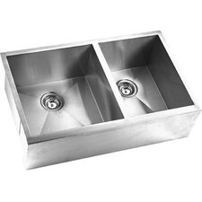 "<strong>Yosemite Home Decor</strong> 32.88"" x 20.38"" Double Square Bowl Straight Farmhouse Kitchen Sink"