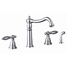 Two Handle Widespread Kitchen Faucet with Side Sprayer