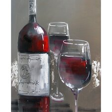 Revealed Artwork Wine and Two Glasses III Original Painting on Canvas