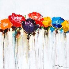 Revealed Artwork Jeweled Poppies I Original Painting on Canvas