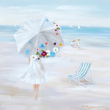 Revealed Artwork Parasol Beach Original Painting on Canvas