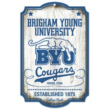 NCAA Brigham Young University College Vault Wood Sign