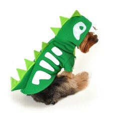 Green Skeleton Dinosaur Dog Costume