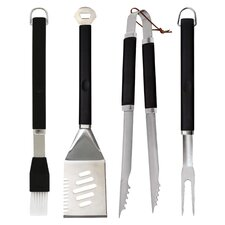 4 Piece Plastic Finger Grip Grilling Tool Set