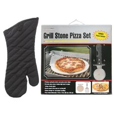 Pizza Stone Kit with Grilling Mitt