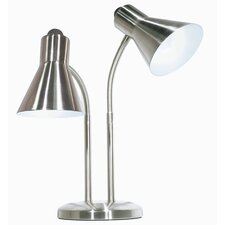 "Twin Goose Neck 16.5 "" H Table Lamp with Empire Shade"