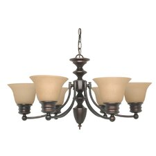 Empire 6 Light Chandelier with Linen Washed Glass