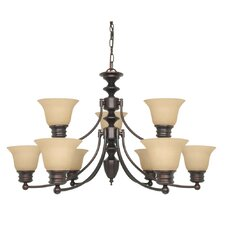 Empire 9 Light Chandelier with Linen Washed Glass