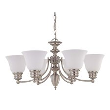 Empire 6 Light Chandelier with Frosted Glass