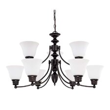 <strong>Nuvo Lighting</strong> Empire 9 Light Chandelier with Frosted Glass