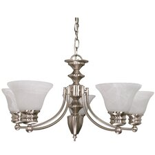 Empire 6 Light Chandelier with Alabaster Bell Glass