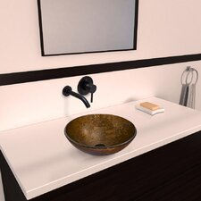 Glass Vessel Bathroom Sink with Olus Wall Mount Faucet
