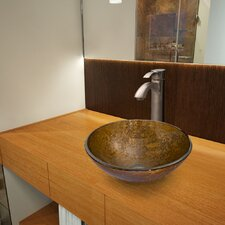 <strong>Vigo</strong> Glass Vessel Bathroom Sink with Otis Faucet