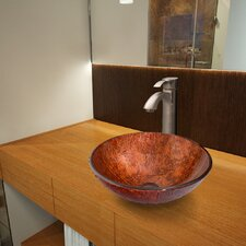 Mahogany Moon Glass Vessel Bathroom Sink with Otis Faucet
