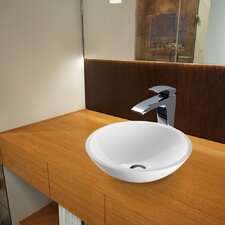 Flat Edged Phoenix Stone Glass Vessel Bathroom Sink with Blackstonian Faucet