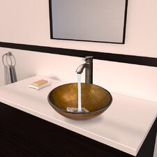 Branco Glass Vessel Bathroom Sink with Otis Faucet