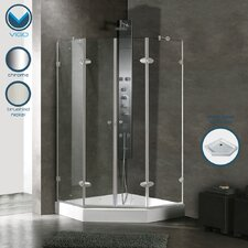 Neo-Angle French Door Frameless Shower Enclosure with Base