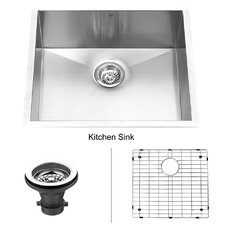 "23"" x 18"" Undermount Single Bowl Kitchen Sink with Grid"