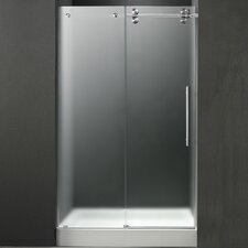 "47.75"" W x 74"" H x 32"" D Frosted Sliding Shower Door with Right Side Opening"