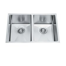 "29"" x 20"" Equal Double Bowl 15 Degree Radius Undermount Kitchen Sink"