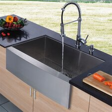 "36"" x 22.25"" Farmhouse Single Bowl Kitchen Sink with Faucet and Soap Dispenser in Satin"