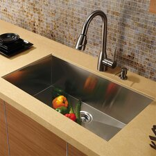 "32"" x 19"" Undermount 16 Gauge Single Bowl Kitchen Sink with Faucet and Soap Dispenser"
