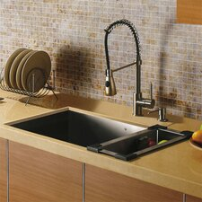 "32"" x 19"" Undermount Single Bowl Kitchen Sink with Faucet, Dispenser and Colander"