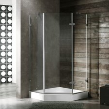 Neo-Angle Door Frameless Clear Shower Enclosure with Base & Knob Handles