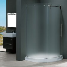 Frameless Round Frosted Sliding Door Shower Enclosure with Right-Sided Door