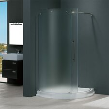 Frameless Round Frosted Sliding Door Shower Enclosure with Left-Sided Door