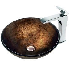 <strong>Vigo</strong> Lava Glass Bathroom Sink with Faucet