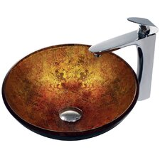 Eastern Sun Glass Bathroom Sink with Round-Edged Faucet
