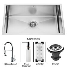 "<strong>Vigo</strong> 30"" x 19"" Undermount Kitchen Sink with Faucet, Colander, Strainer and Dispenser"