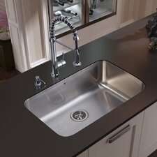 "30"" x 18.75"" Undermount Kitchen Sink with Faucet, Strainer and Dispenser"