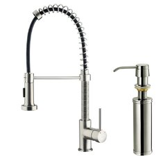 <strong>Vigo</strong> One Handle Single Hole Pull Out Spray Bar Faucet with Soap Dispenser