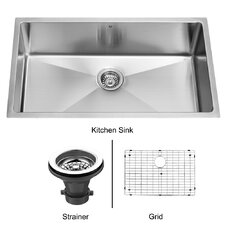 "32"" x 19"" Super Single Bowl 15 Degree Radius Undermount Kitchen Sink"