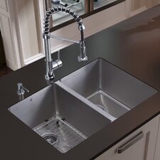 "29"" x 20"" Double Bowl Undermount Kitchen Sink with Faucet, Two Grids, Two Strainers and Dispenser"