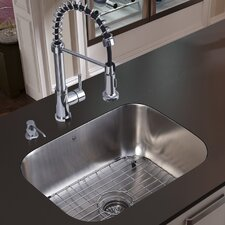 "23"" x 18.75"" Undermount Kitchen Sink with Faucet, Grid, Strainer and Dispenser"
