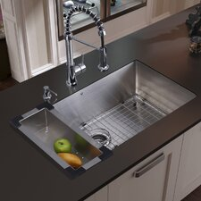 "<strong>Vigo</strong> 30"" x 19"" Undermount Kitchen Sink with Faucet, Colander, Grid, Strainer and Dispenser"