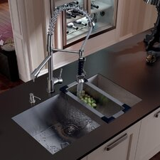 "32"" x 27"" Undermount Kitchen Sink with Sink, Faucet, Colander, Strainer and Dispenser"