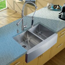 "33"" x 27"" Double Farmhouse Kitchen Sink with Faucet, Two Grids, Two Strainers and Dispenser"