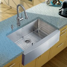 "33"" x 22.25"" Farmhouse Kitchen Sink with Faucet, Grid, Strainer and Dispenser"